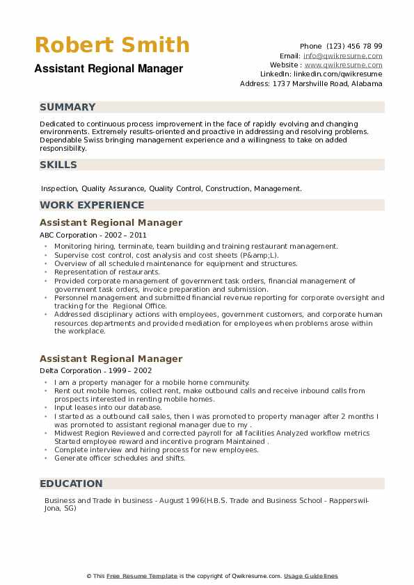 Assistant Regional Manager Resume example