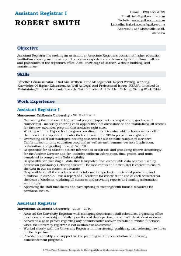 assistant registrar resume samples