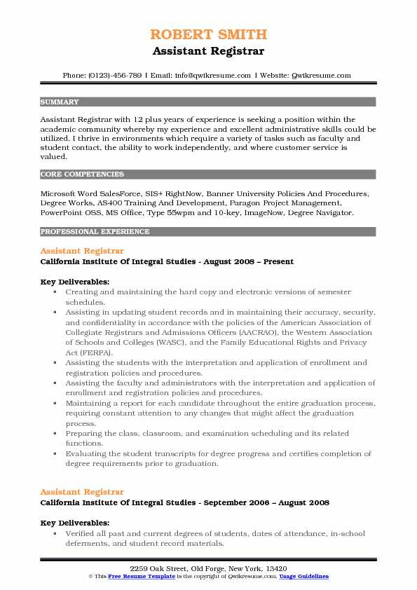 Assistant Registrar Resume Model
