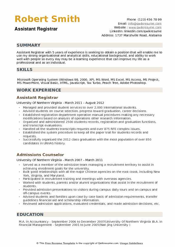 Assistant Registrar Resume Samples Qwikresume
