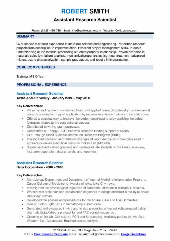 Assistant Research Scientist Resume example
