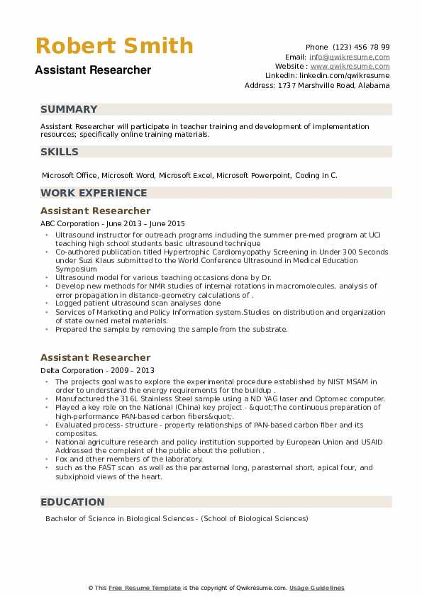 Assistant Researcher Resume example
