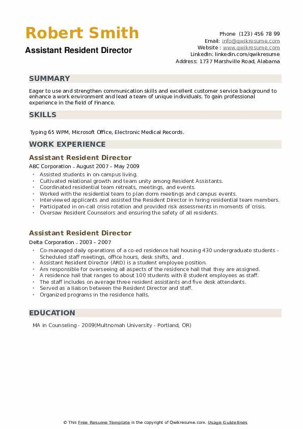 Assistant Resident Director Resume example