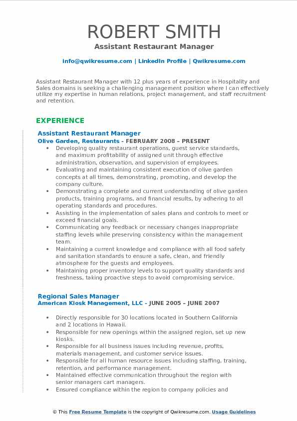 Assistant Restaurant Manager Resume Format