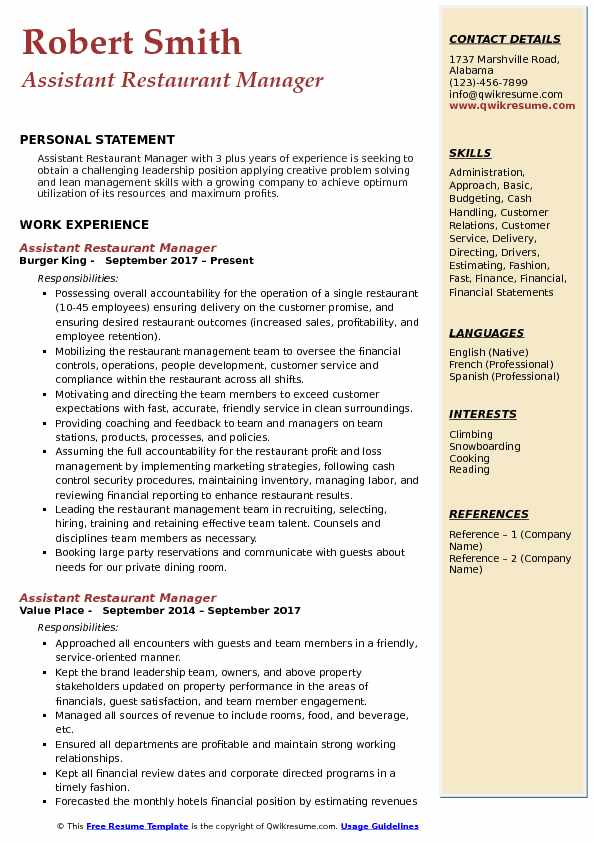 Assistant Restaurant Manager Resume Sample