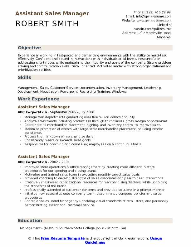 Assistant Sales Manager Resume Example