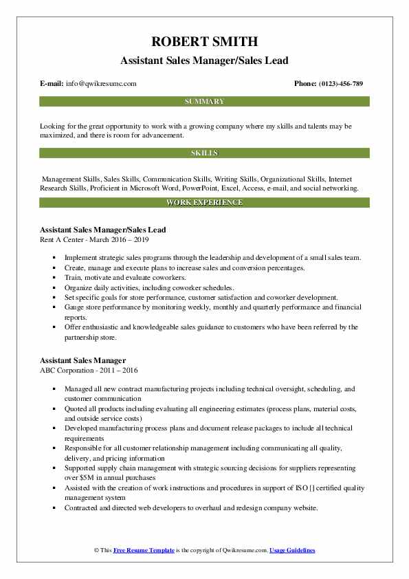 Assistant Sales Manager/Sales Lead Resume Sample