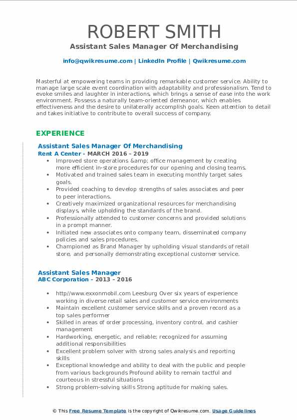 Assistant Sales Manager Of Merchandising Resume Template