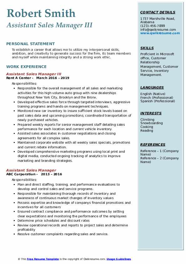 Assistant Sales Manager III Resume Format