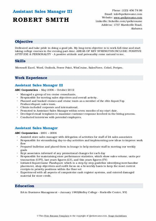 Assistant Sales Manager III Resume Example