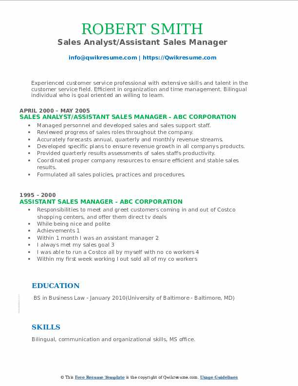 Sales Analyst/Assistant Sales Manager Resume Format