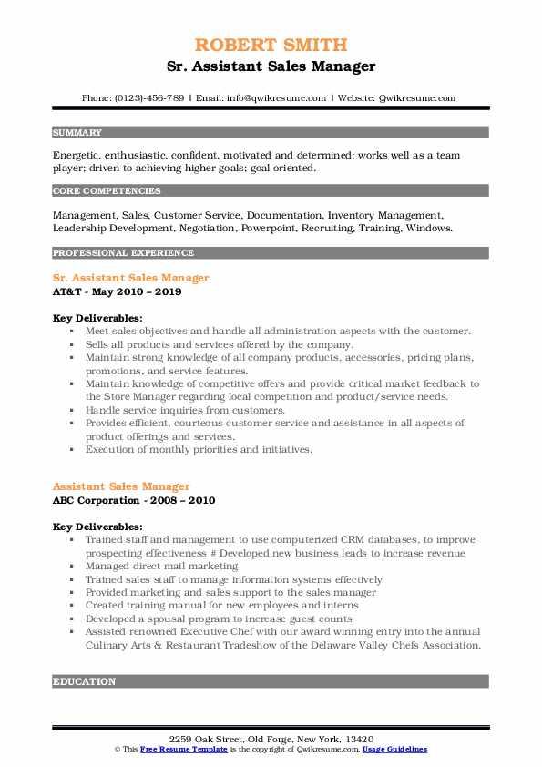 Sr. Assistant Sales Manager Resume Format