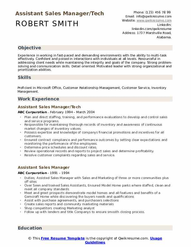 Assistant Sales Manager/Tech Resume Model