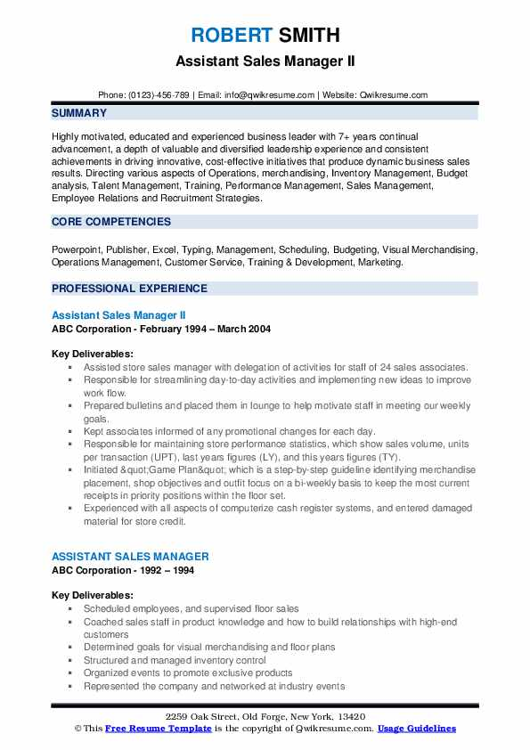 Assistant Sales Manager II Resume Format
