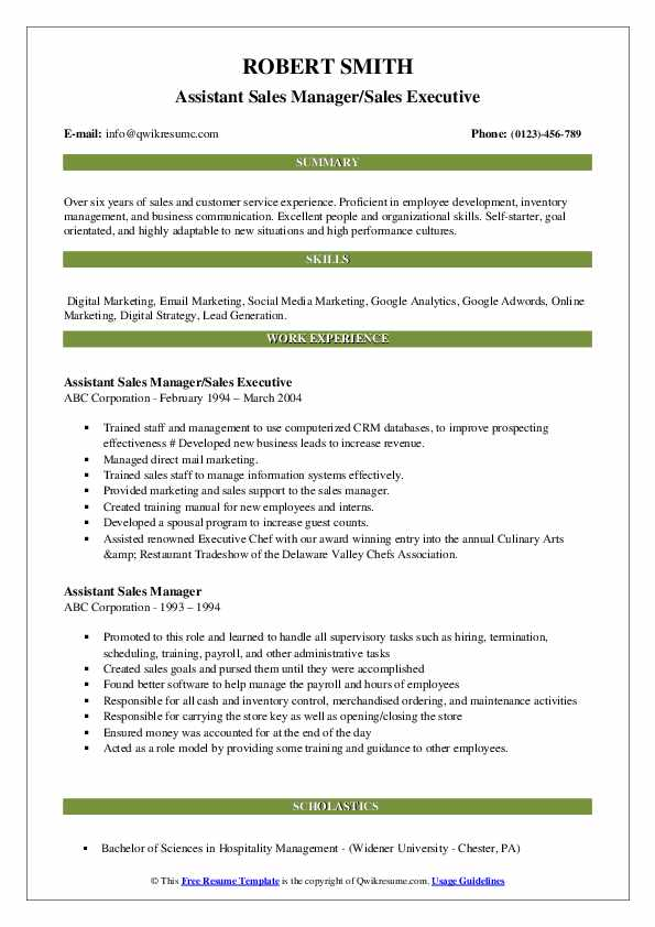 Assistant Sales Manager/Sales Executive Resume Sample
