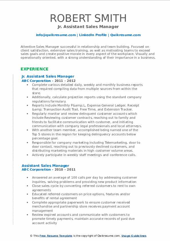 Jr. Assistant Sales Manager Resume Example