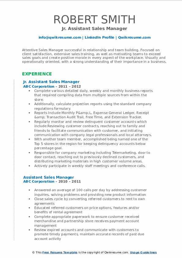 Jr. Assistant Sales Manager Resume Model