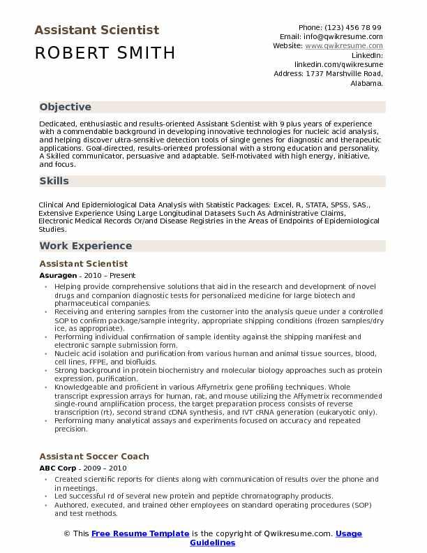 Assistant Scientist  Resume Format