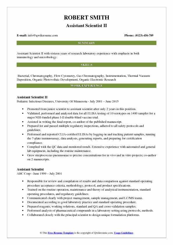 Assistant Scientist II Resume Model