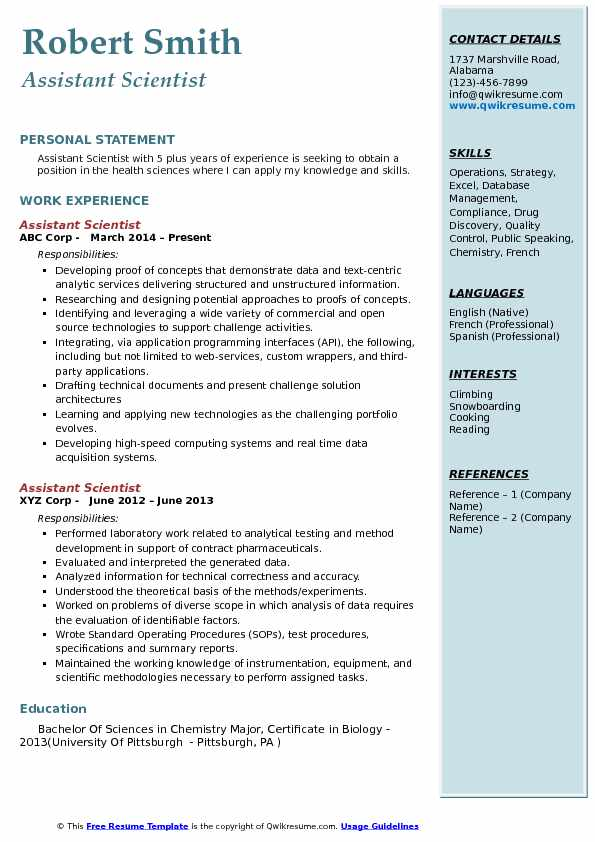 Assistant Scientist  Resume Sample