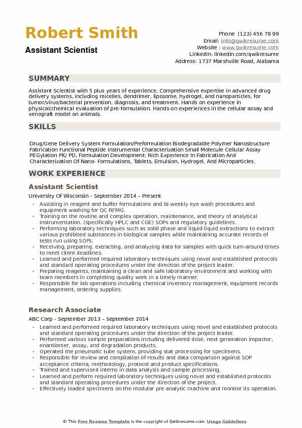 Assistant Scientist Resume example