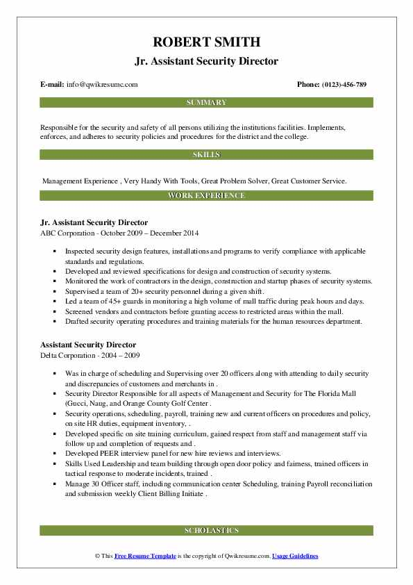 assistant security director resume samples