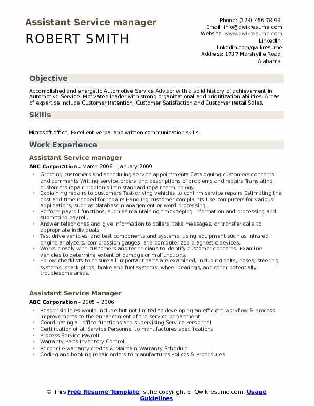 Assistant Service manager Resume Model