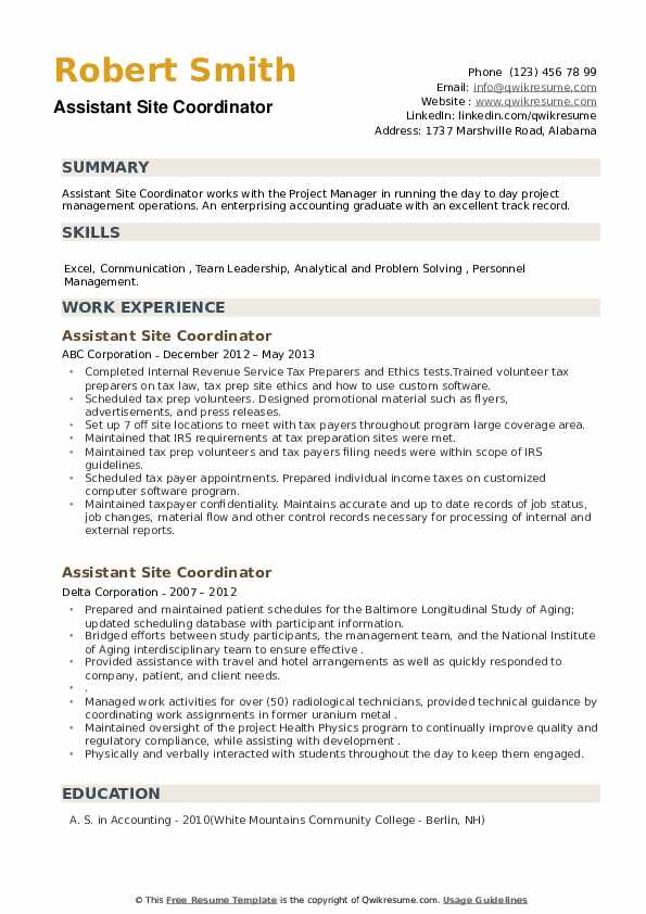 Assistant Site Coordinator Resume example
