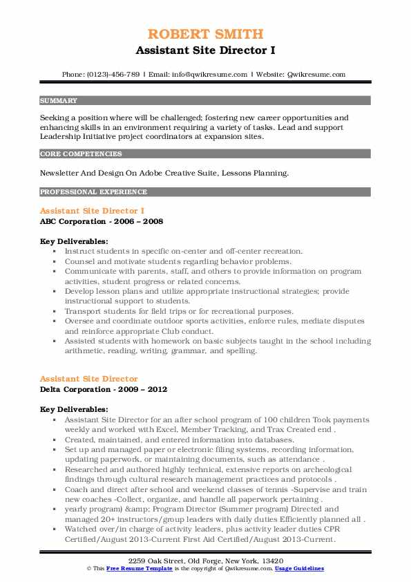 Assistant Site Director Resume example