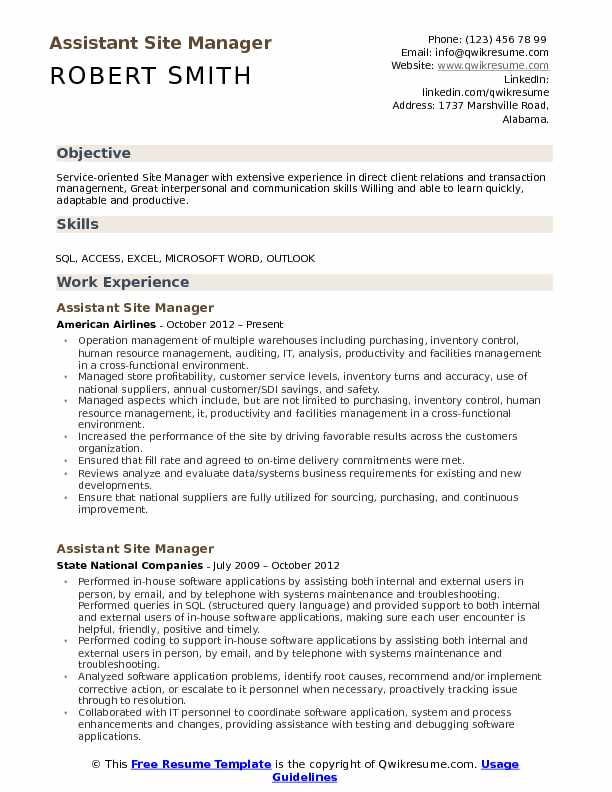 Assistant Site Manager Resume Sample