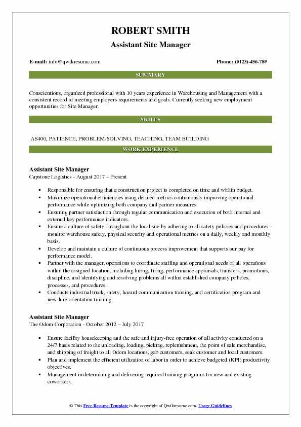 Assistant Site Manager Resume Model
