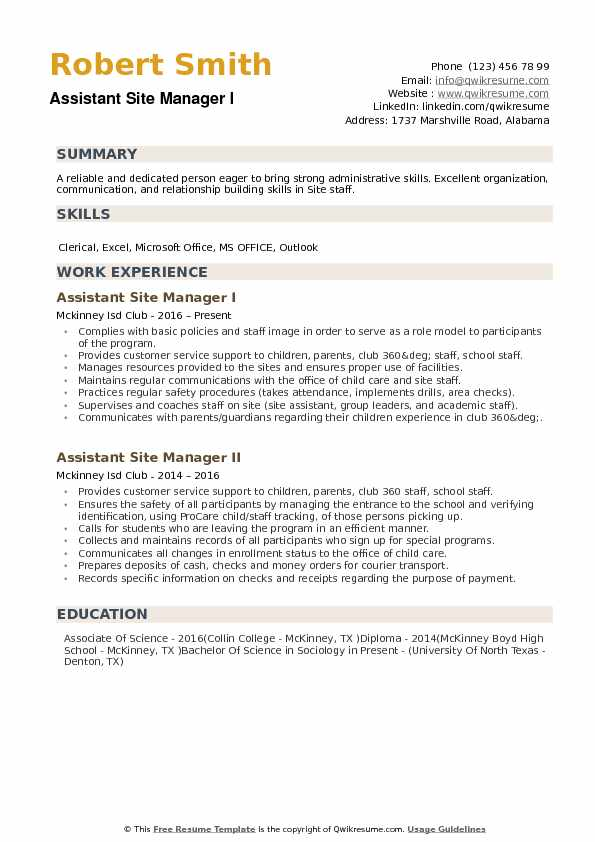 Assistant Site Manager Resume example
