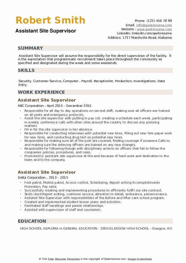 Assistant Site Supervisor Resume example