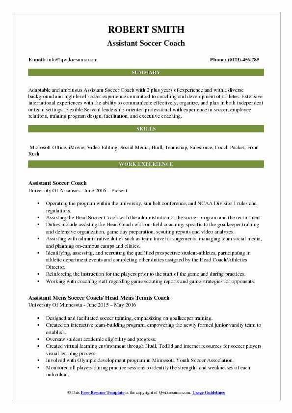 Assistant Soccer Coach Resume Samples | QwikResume