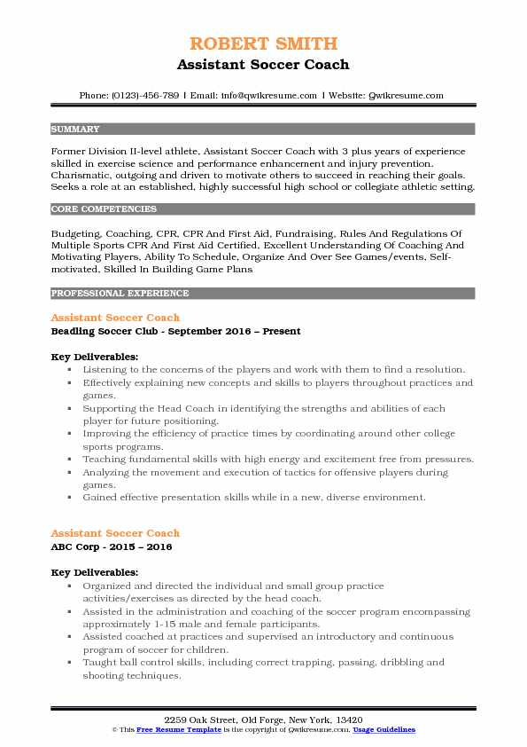 Assistant Soccer Coach Resume Example