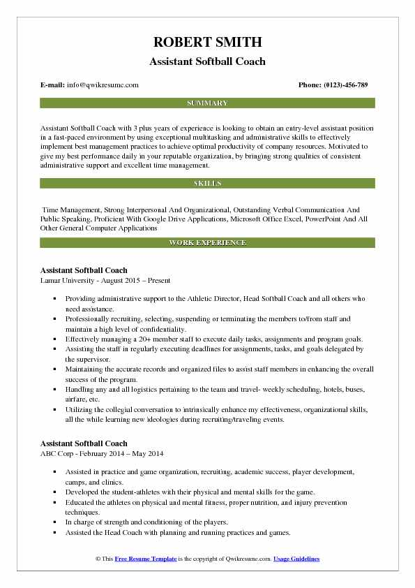 Assistant Softball Coach Resume Sample