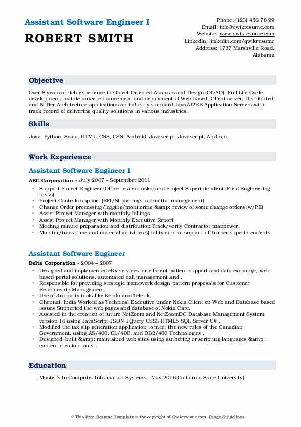 assistant software engineer resume samples  qwikresume