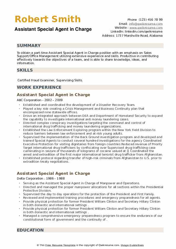 Assistant Special Agent in Charge Resume example