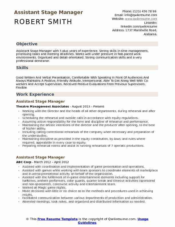 assistant stage manager resume samples