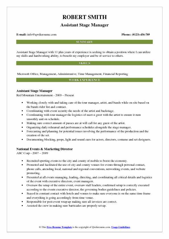 Assistant Stage Manager Resume Samples | QwikResume