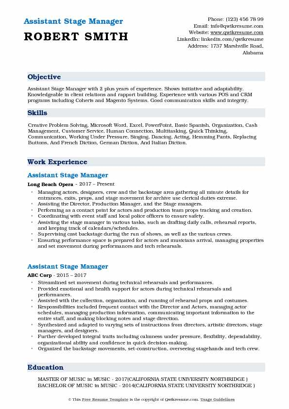 Assistant Stage Manager Resume Model