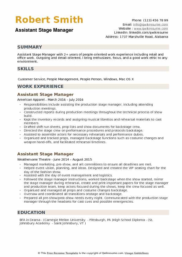 Assistant Stage Manager Resume Example