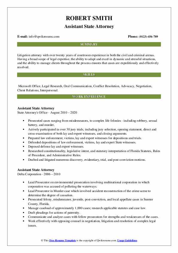 assistant state attorney resume samples  qwikresume