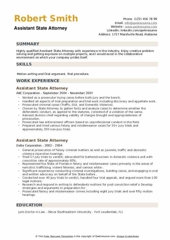 Assistant State Attorney Resume example