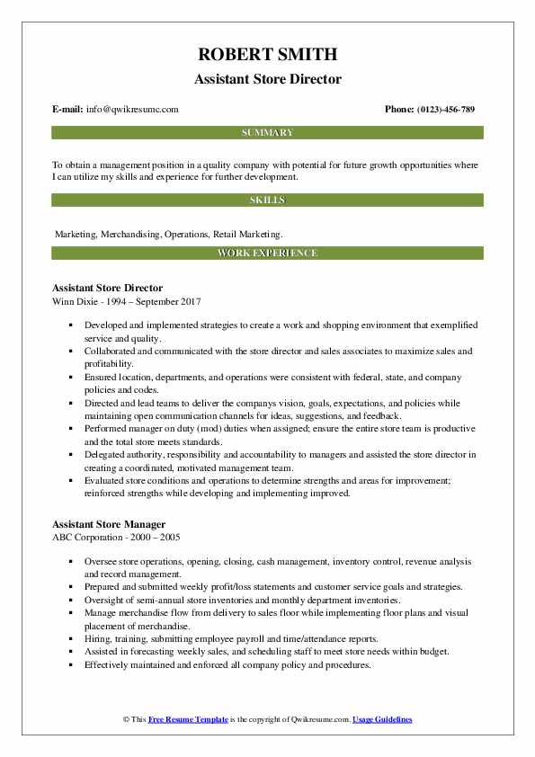 Assistant Store Director Resume Template