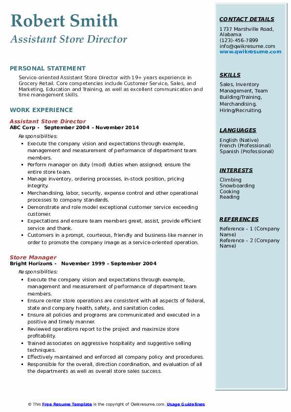 assistant store director resume samples