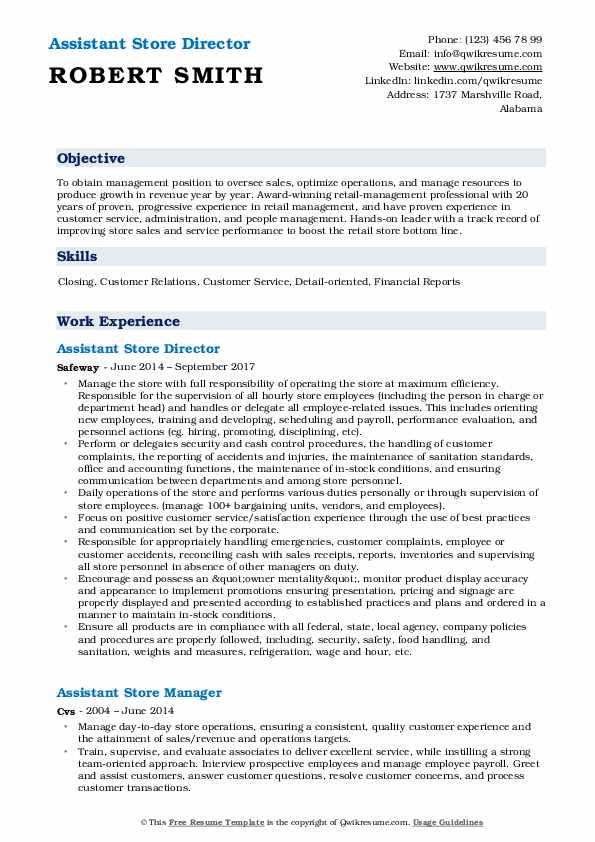 Assistant Store Director Resume Model