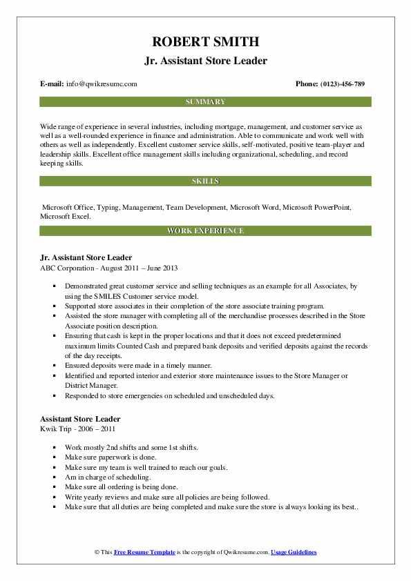 Jr. Assistant Store Leader Resume Model