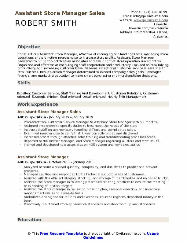 Assistant Store Manager Sales Resume Model