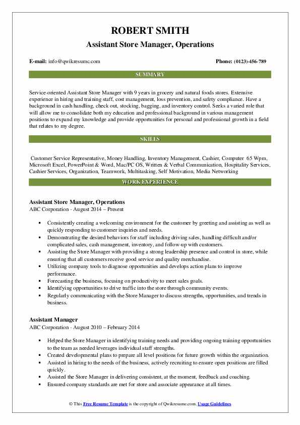 Assistant Store Manager, Operations Resume Template
